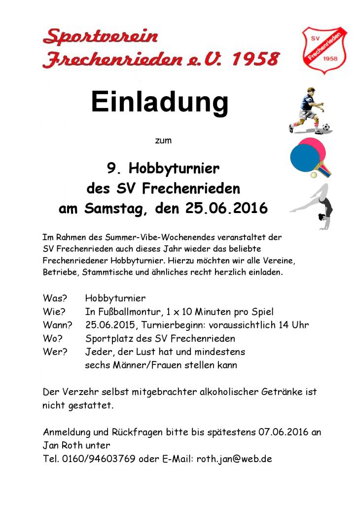 Einladung zum Hobbyturnier 2016